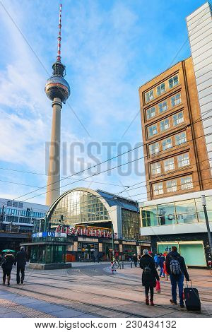 Berlin, Germany - December 10, 2017: People On Alexanderplatz With View On Television Tower On The B