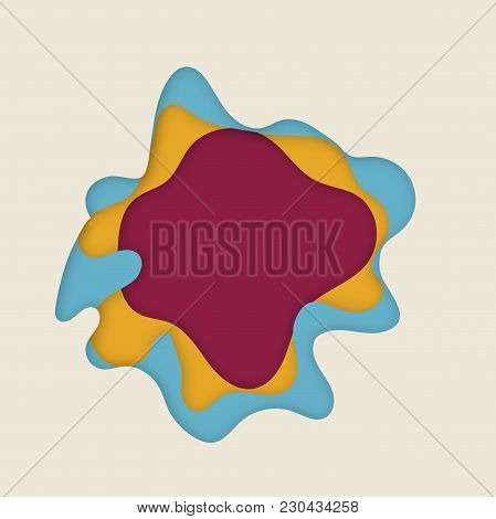 Modern Flat Paper Cut Material Design Abstract Background With Text Place