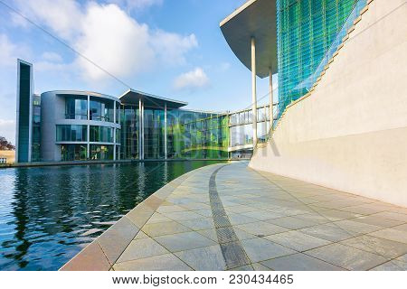 Berlin, Germany - December 8, 2017: Modern Glass Building Of German Bundestag Parliament, Berlin, Ge
