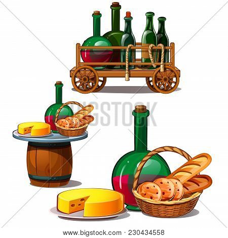 A Cart With Bottles Of Wine And Food. Vector Illustration.