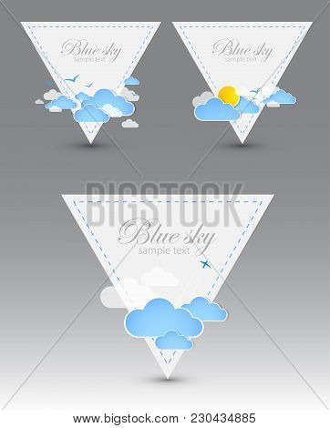 Set Of Creative Good Weather Info Triangles. Vector Illustration