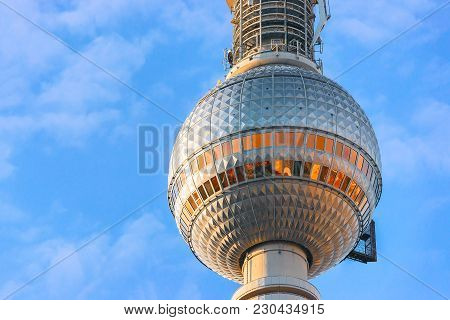 Berlin, Germany - December 10, 2017: Fragment Of Television Tower On Alexanderplatz In Berlin, Germa