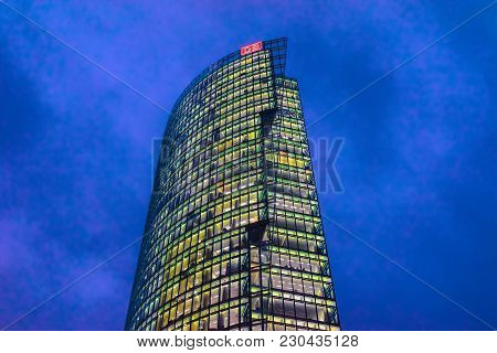 Berlin, Germany - December 12, 2017: Db Skyscraper At Potsdamer Platz In Berlin At The Evening, Germ