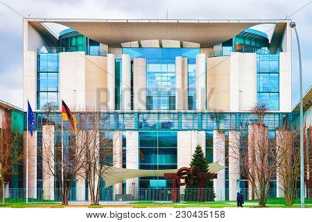 Berlin, Germany - December 8, 2017: Bundeskanzleramt Building With Eu And German Flags In Berlin Mit