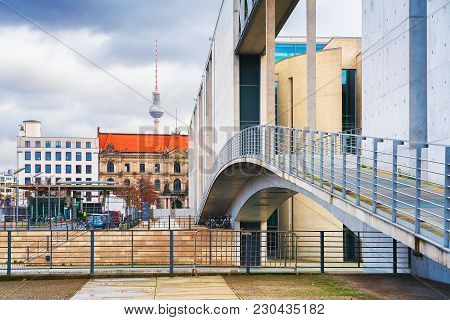 Berlin, Germany - December 8, 2017: Bridge At German Bundestag Parliament Building In Berlin, German