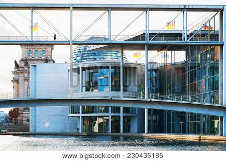 Berlin, Germany - December 8, 2017: Bridge Of German Bundestag Parliament Building, In Berlin, Germa