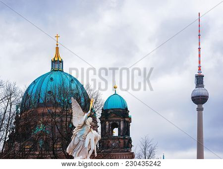 Berlin, Germany - December 12, 2017: Berliner Dom Cathedral And Television Tower Of Berlin, Germany