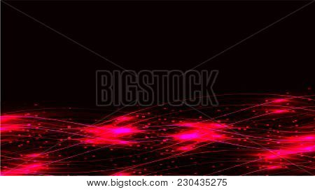 Pink Transparent Abstract Shiny Magical Cosmic Magical Energy Lines, Rays With Glare And Dots And Li