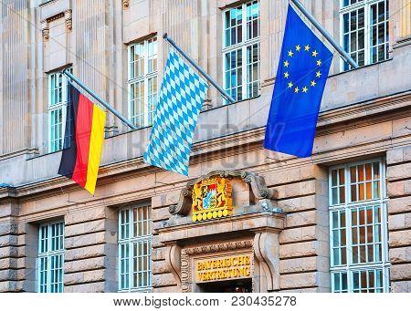 Berlin, Germany - December 8, 2017: Bavarian Representation In Berlin, Germany