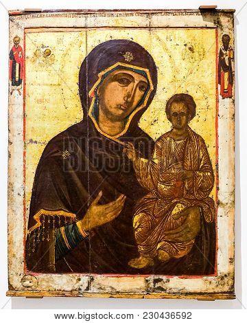 Veliky Novgorod, Russia - August 17, 2017: The Mother Of God Hodegetria, 15th Century