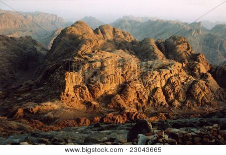 Sunrise at summit of Mount Sinai in Egypt poster