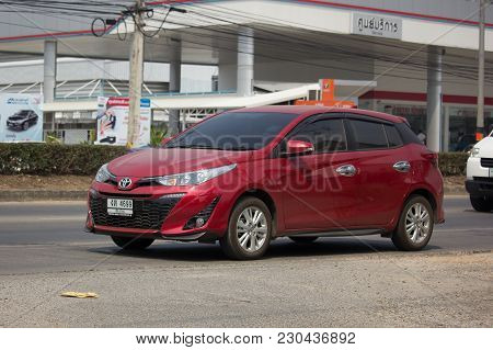 Chiang Mai, Thailand -february 26 2018: New Private Car Toyota Yaris Hatchback Eco Car.  Photo At Ro