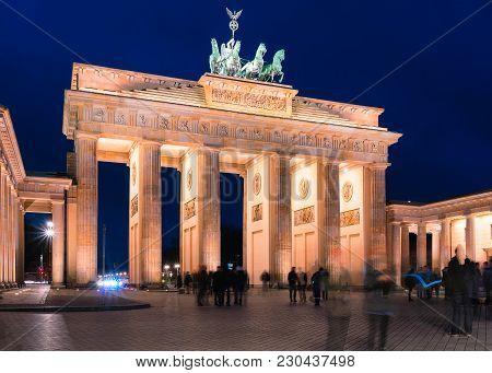 Brandenburg Gate In The Center Of Berlin At Night, Germany