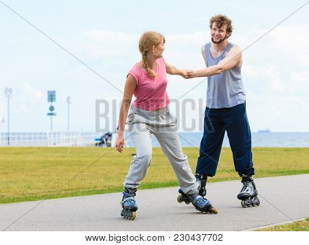 Active Holidays, Exercises, Relationship Concept. Young Woman Dressed In Sports Clothes Putting Her
