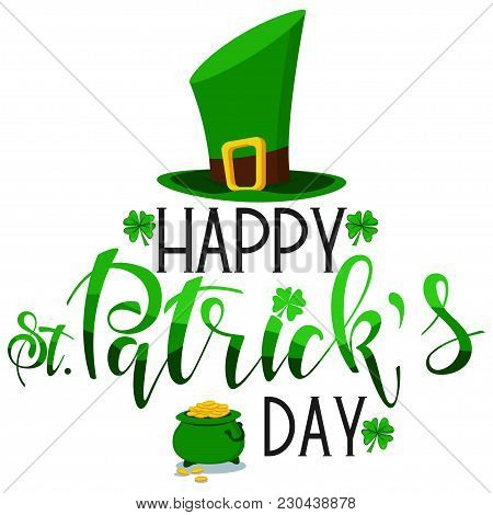 Happy St. Patrick's Day Hand Drawn Text, Logo, Banner, Card Vector Icon.