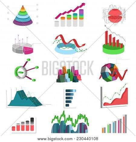 3d Business Graphs And Charts. Statistics Diagram And Progress Data. Vector Icons Set.