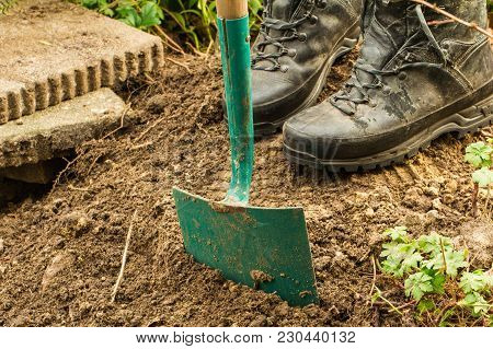 Work At Home Concept. Retired Puts A Tile For Path On Him Garden.