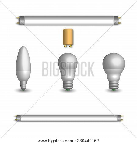 Set Of Various Photorealistic Light-emitting Diode And Fluorescent Light Bulbs. Elements For The Des