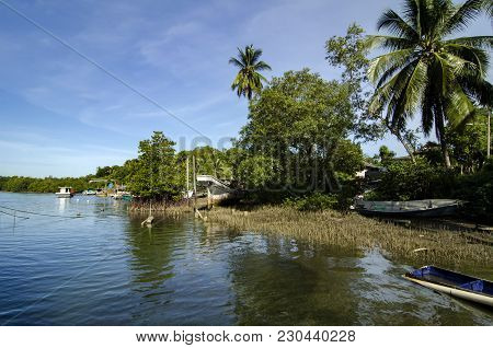 Beautiful In Nature, Scenic View Of Village Near The River Bank Located In Terengganu, Malaysia At S