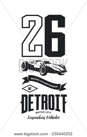 Vintage Sport Vehicle Vector Logo Isolated On White Background.premium Quality Number Logotype Tee-s