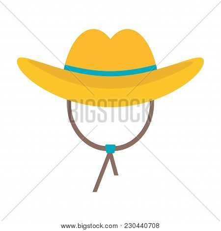 Cowboy Hat Icon. Flat Vector Cartoon Illustration. Objects Isolated On White Background.