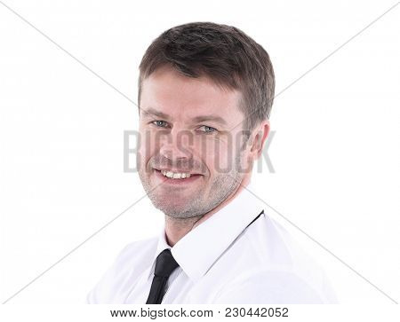 Portrait of a handsome business man  isolated on white.
