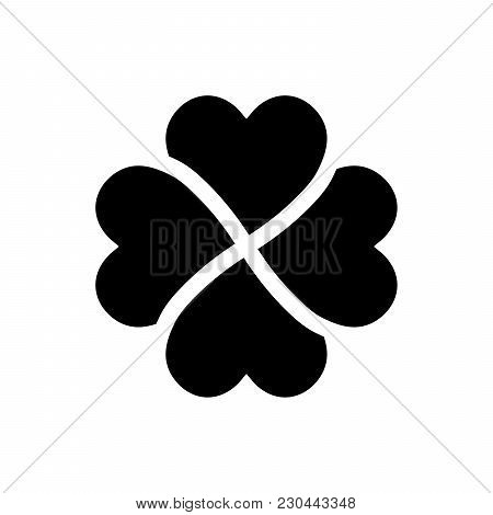 Shamrock Silhouette - Black Four Leaf Clover Icon. Good Luck Theme Design Element. Simple Geometrica