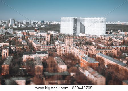 True Tilt-shift Cityscape: Multiple Five-story Blocks Of Flats Houses, Modular Prefabricated Buildin