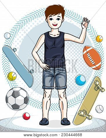 Little Boy Standing In Stylish Casual Clothes. Vector Human Illustration. Childhood Lifestyle Clip A