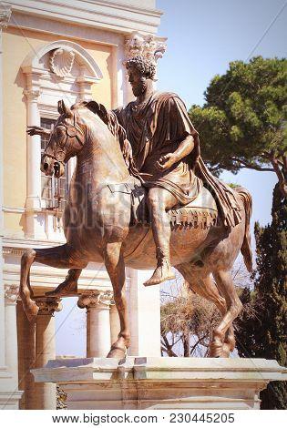 Equestrian Statue Of Marcus Aurelius In Piazza Del Campidoglio In Rome .