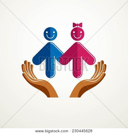 Happy Couple Simple Vector Logo Or Icon Created With People Geometric Signs In A Shape Of Arrows And