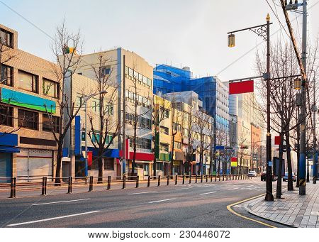 Street At The City Center Of Busan In The Morning, South Korea