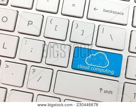 Computer Keyboard Enter Button With Cyber Security And Cloud Symbol.