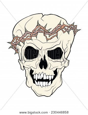 The Skull Of A Grinning Vampire In Thorns Wreath . Vector Color Illustration Of A Tattoo Style Isola