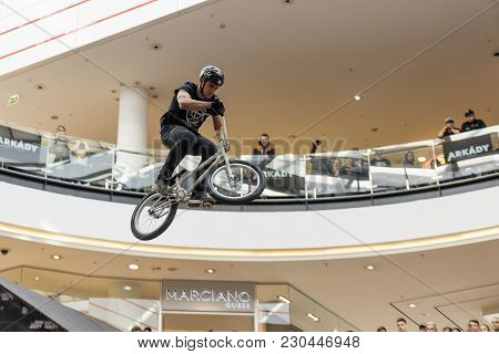 Arkady Pankrac Mall, Prague - March 3: Biker Flies Over The Last Obstacle During Down Mall Tour 2018