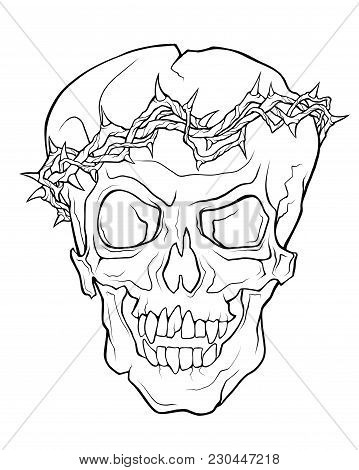 The Skull Of A Grinning Vampire In Thorns Wreath . Vector Linear Illustration Of A Tattoo Style Isol