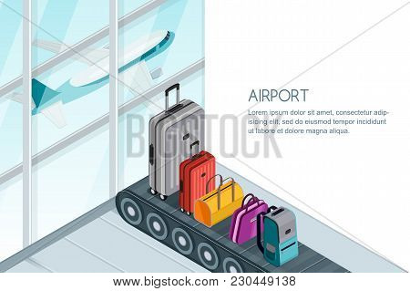 Luggage, Suitcase, Bags On Conveyor Belt In Airport Terminal. Vector 3D Isometric Illustration. Trav
