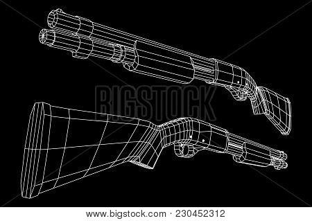 Shotgun Rifle Hunting Carbine Wireframe Low Poly Mesh Vector Illustration