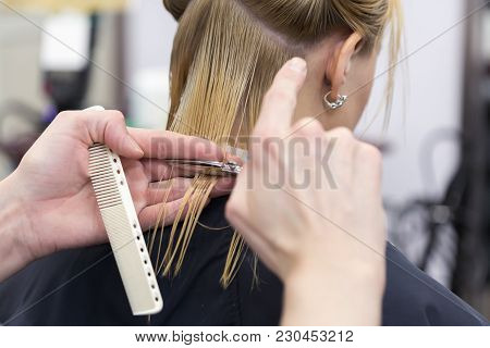 A Hairdresser Making Haircut For A Blonde Female Client In Hairdressing Salon. Selective Focus