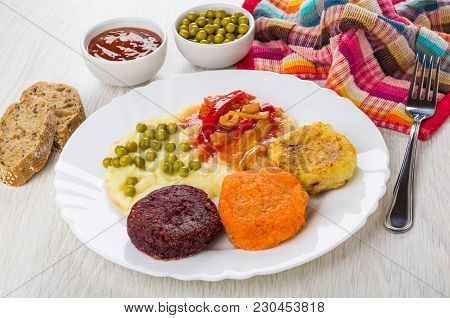 Vegetable Cutlets From Cabbage, Carrot, Beetroot With Mashed Potato In Dish, Bowls With Green Peas,