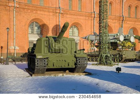 Saint Petersburg, Russia - January 20, 2017: Heavy Self-propelled Artillery Isu-152 In The Museum Of
