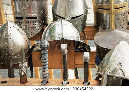 Armor Knight Medieval, Helmets And Swords At The Medieval Festival