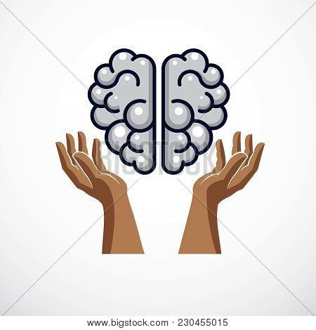 Human Anatomical Brain With Tender Defending Hands Of Care. Vector Illustration, Logo Or Icon. Care