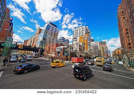 New York, Usa - April 24, 2015: Intersection Of 10th Avenue And West 23rd Street In Downtown Manhatt