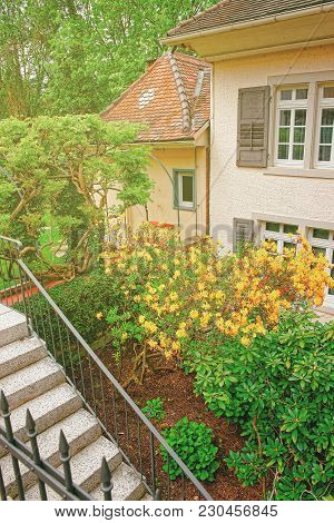 Inner Yard With The Small Garden Of A House In Baden-baden, Baden-wurttemberg State, Of Germany