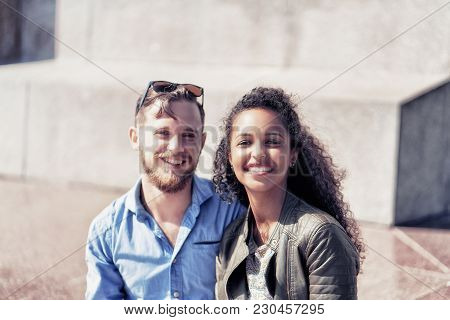 Smiling Young Middle Eastern Girl With Her Caucasian Boyfriend Happy Together As Diversity Friendshi