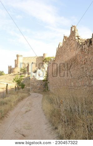 Belmonte, Spain -july 29, 2017: Medieval  Castle On The Hill In The Village Of Belmonte, Province Of