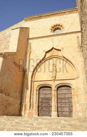 Entrance To Church In Belmonte, A Village Located In The Province Of Cuenca, Castile-la Mancha, Spai