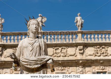 Detail Of The Fountain Of Madonna Verona In Piazza Delle Erbe, Verona, Veneto, Italy (unesco World H