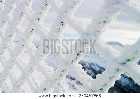 Fencing Mesh Being Frozen And Icy In Mountains In Winter Zakonane, Tatras, Poland
